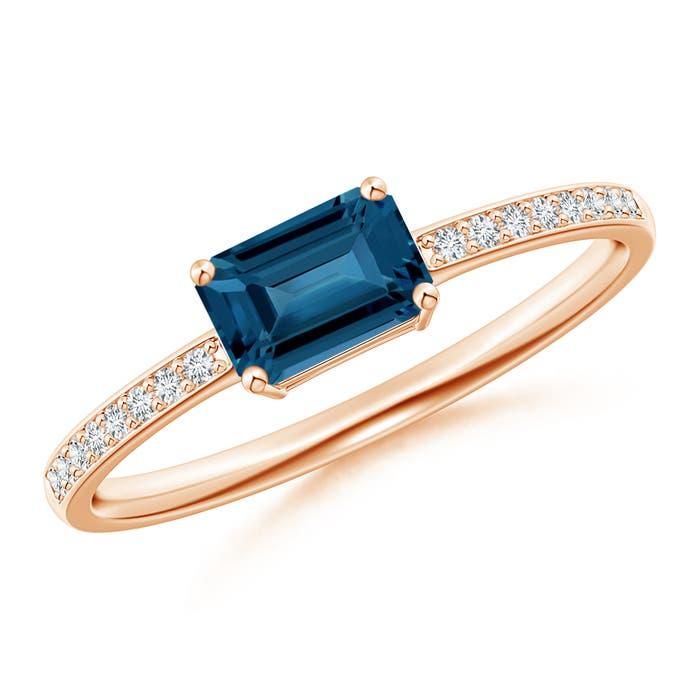 Angara Rose Gold Emerald-Cut London Blue Topaz Ring mLF65Hs