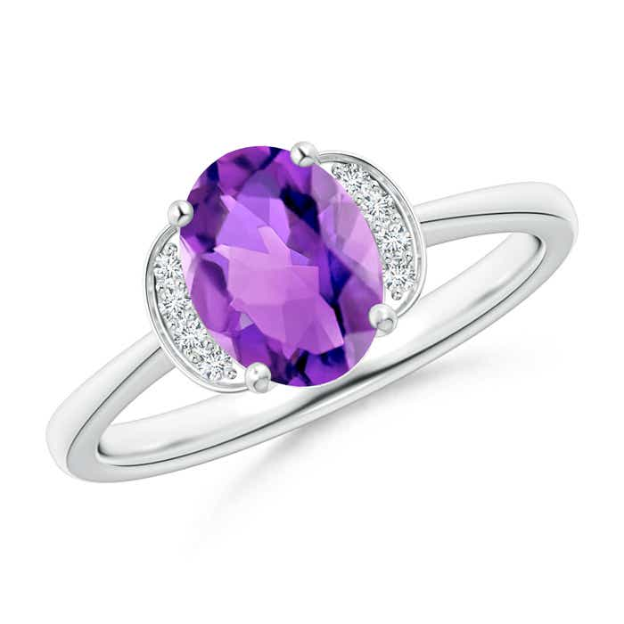 Angara Oval Amethyst Diamond Engagement Ring in Rose Gold 92eLYWK59p