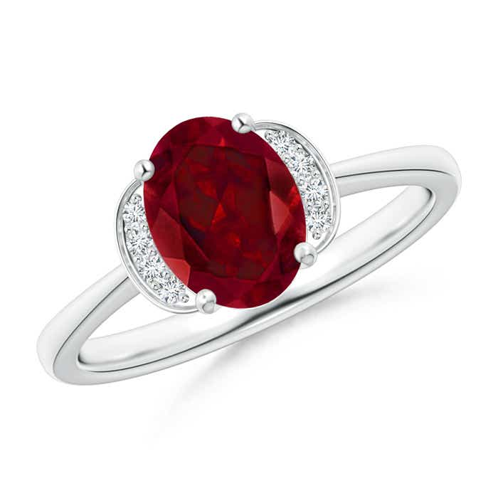 Angara Solitaire Oval Garnet Floral Ring with Diamond in Yellow Gold 2tpHAHv