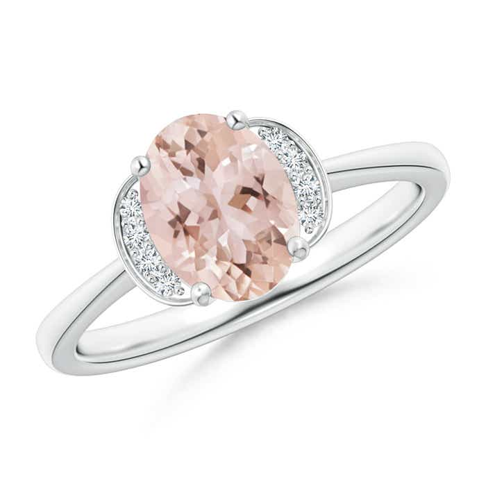 Angara Solitaire Oval Morganite Crossover Ring with Diamond rfVJWkM3