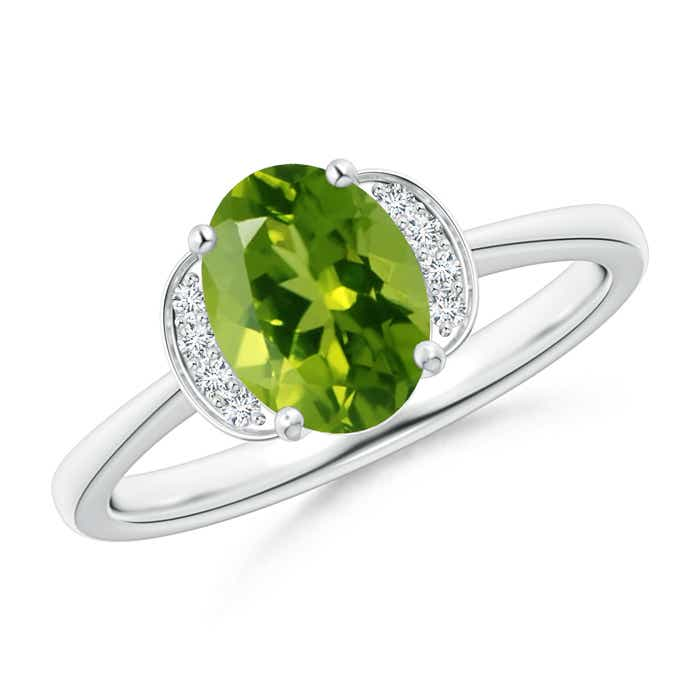 Angara Tapered Shank Peridot Solitaire Ring with Diamond Accents