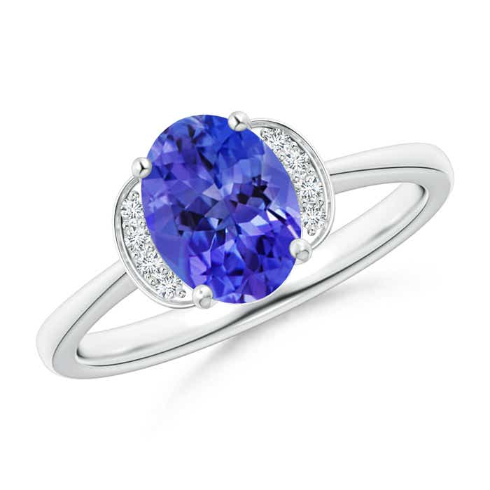 Angara Solitaire Oval Tanzanite Collar Ring with Diamond in 14K White Gold Jk8HdMW