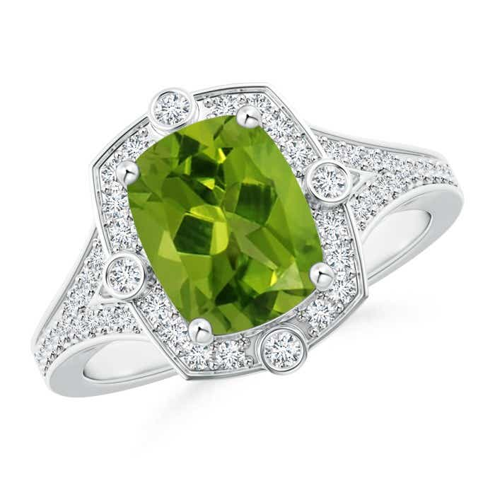 Angara Bezel-Set Oval Peridot Ring with Diamond Halo