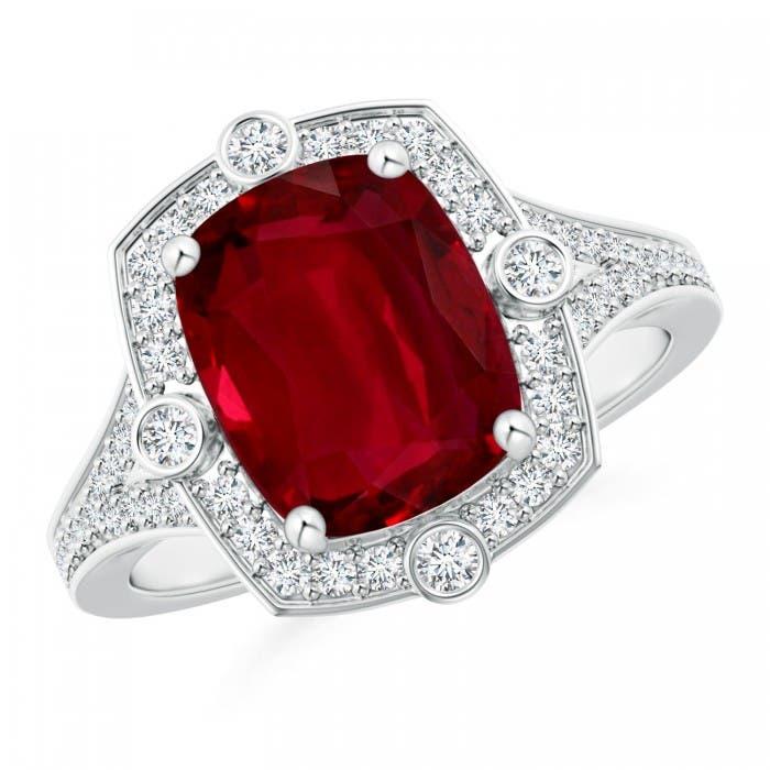 Angara Cushion Ruby and Diamond Engagement Ring in Platinum JTLHF91A1