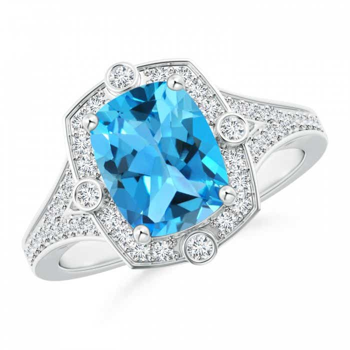 Angara Art Deco Inspired Cushion Swiss Blue Topaz Ring with Diamond Halo UNBSot