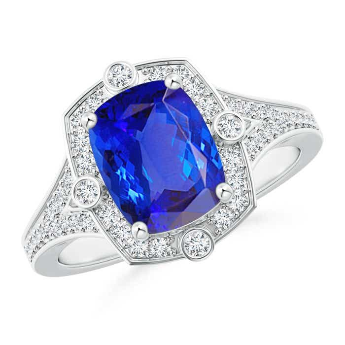Angara Art Deco Inspired Cushion Tanzanite Ring with Diamond Halo in White Gold 68Hcxcx5