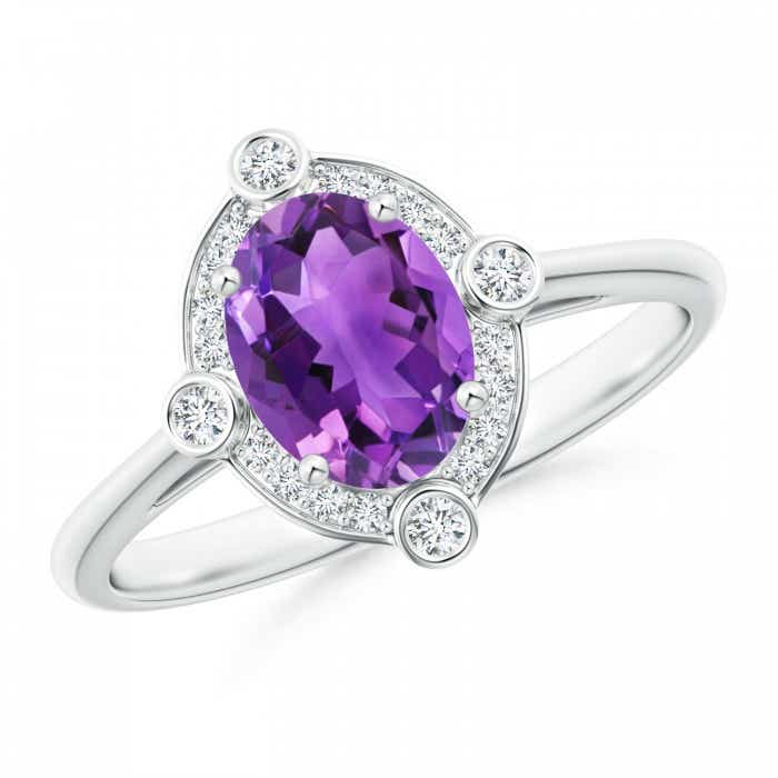 Angara Triple Shank Oval Amethyst and Diamond Halo Ring