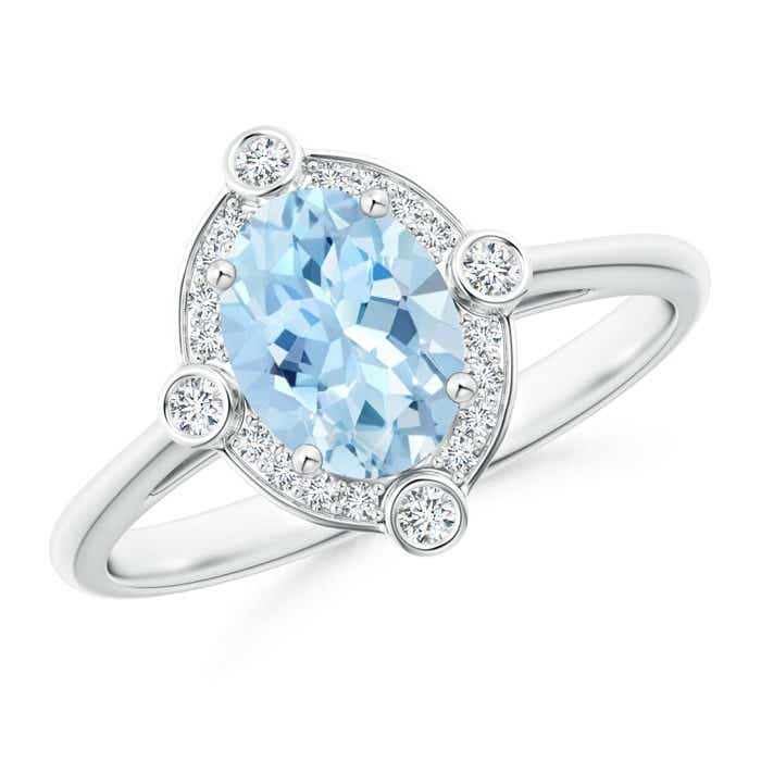 Angara Oval Aquamarine and Diamond Halo Engagement Ring Platinum
