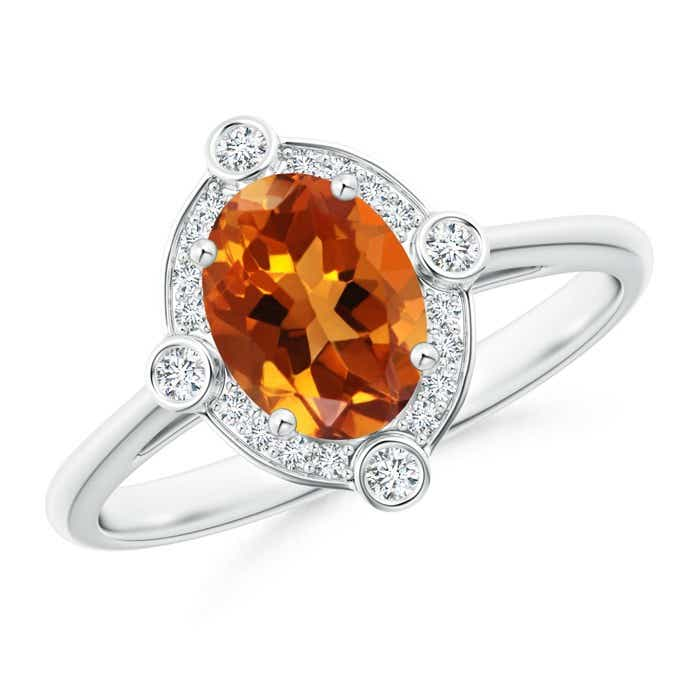 Angara Oval Citrine Solitaire Ring with Pave Diamonds in 14K Rose Gold npgbDAZ