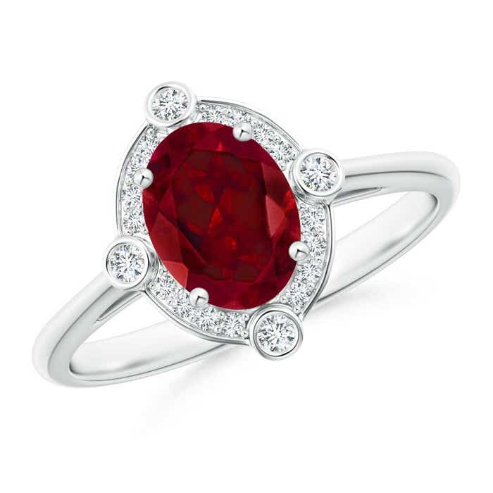 Angara Triple Shank Oval Garnet and Diamond Halo Ring oDnLZG
