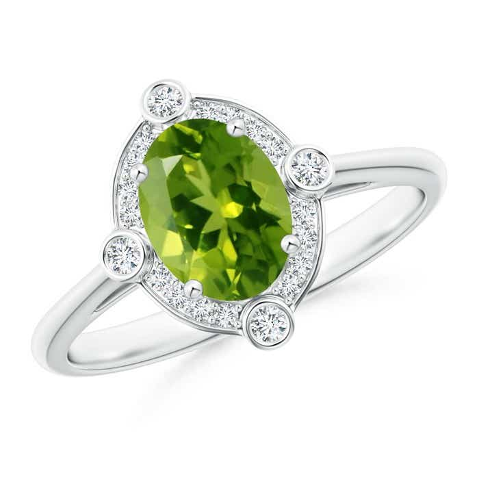 Angara Bezel-Set Oval Peridot Ring with Diamond Halo rTGwV1
