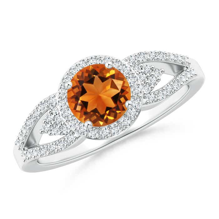 Angara Split Shank Round Citrine Halo Ring with Cluster Diamonds in Platinum