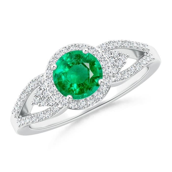 Angara Diamond Halo Emerald Split Shank Ring in 14k Yellow Gold dXBMWSWN