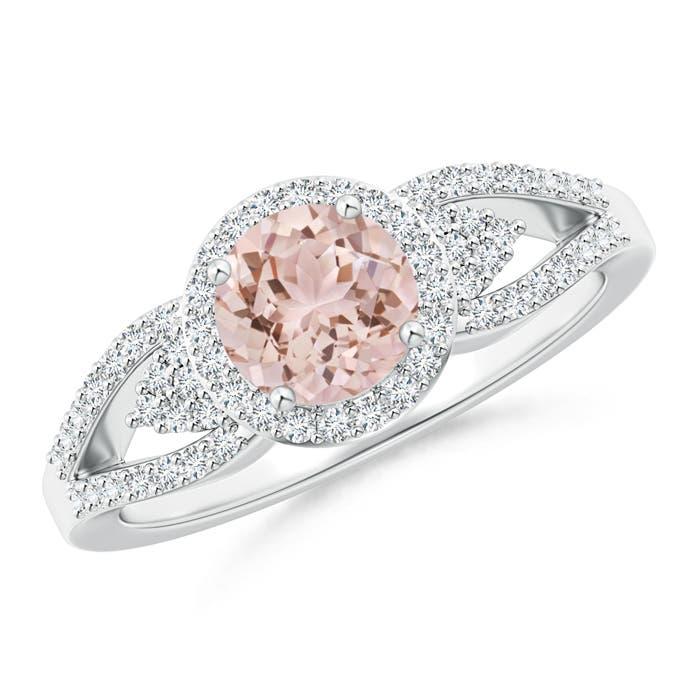 Angara Split Shank Round Morganite Halo Ring with Cluster Diamonds gZtoI