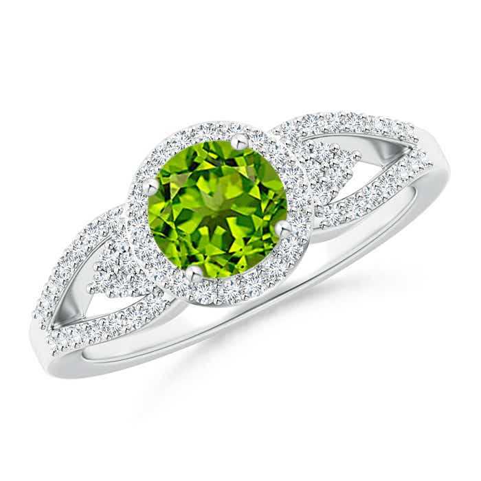 Angara Round Peridot Halo Engagement Ring in Rose Gold fbCAu