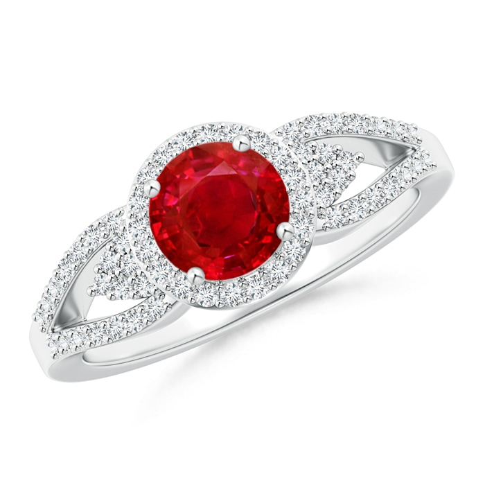 Angara Split Shank Round Ruby Halo Ring with Cluster Diamonds in White Gold