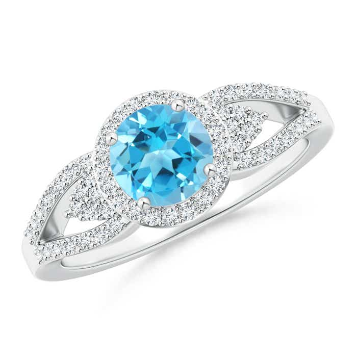 Angara Floating Three Stone Swiss Blue Topaz Ring with Diamond Halo 5sbzL