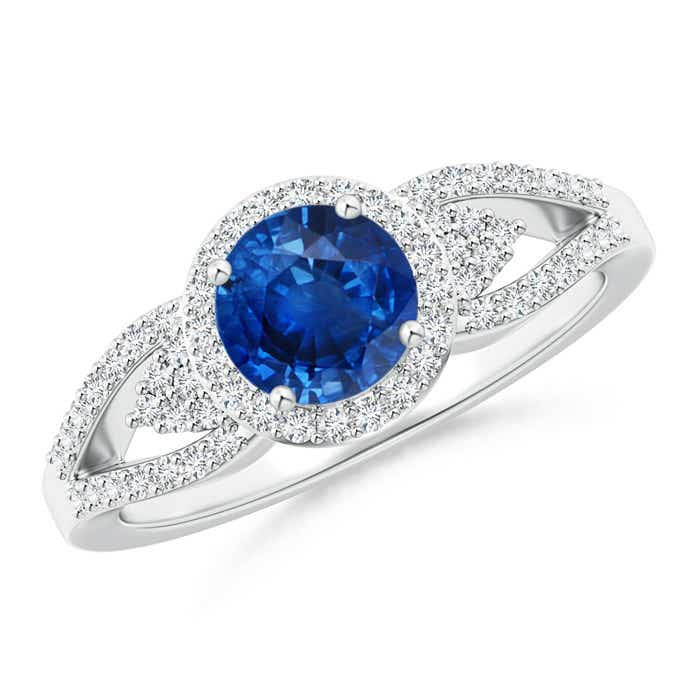 Angara Platinum Round Blue Sapphire and Diamond Halo Split Shank Ring