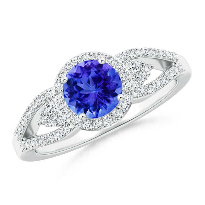 Angara Round Tanzanite Diamond Halo Split Shank Engagement Ring in Platinum d3wLaVVCp