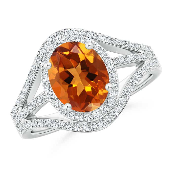 Angara Triple Shank Oval Citrine and Diamond Halo Ring in Platinum 2AtRnJ