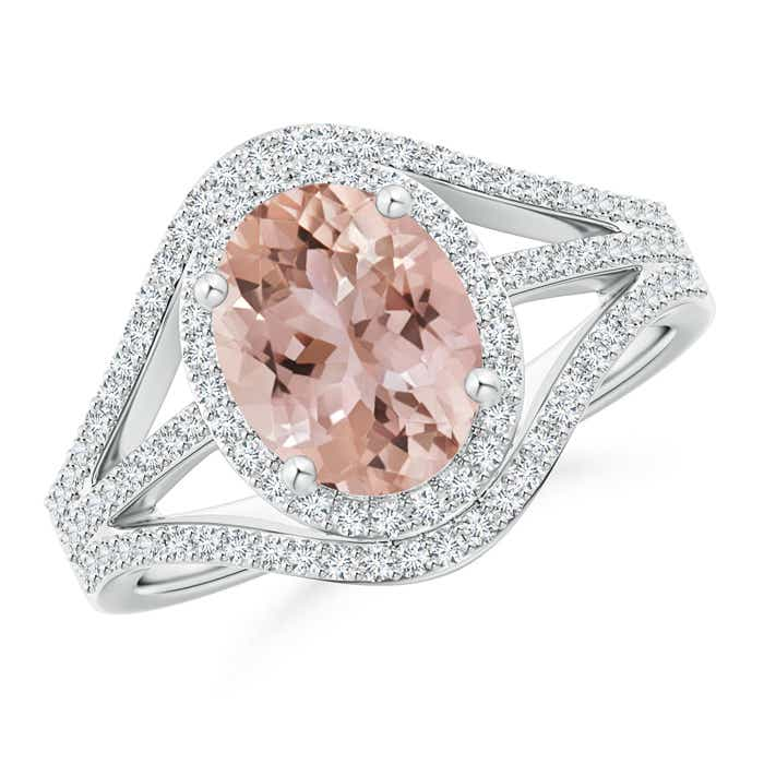 Angara Oval Morganite Engagement Ring in White Gold 31lM9Bf