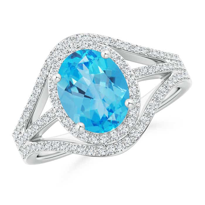 Angara Triple Shank Oval Swiss Blue Topaz and Diamond Halo Ring xkj6b7g9H