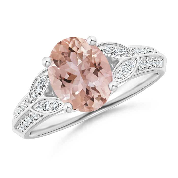 Angara Solitaire Oval Morganite Collar Ring with Diamond