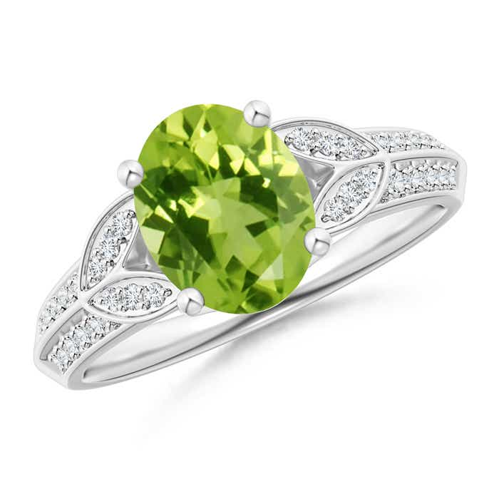 Angara Oval Peridot Solitaire Ring with Pave Diamonds 0Sg3A7P43