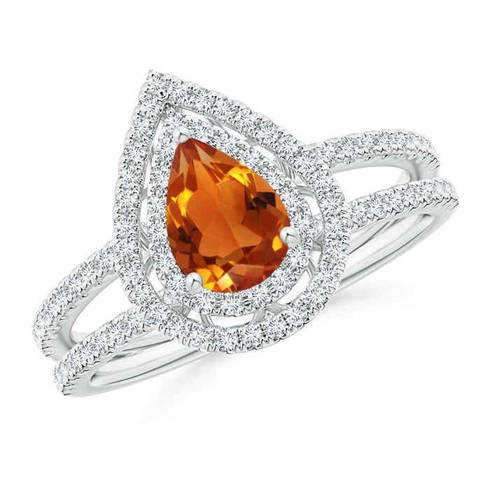 Angara Split Shank Pear Citrine and Diamond Double Halo Ring in White Gold BzcYwc9