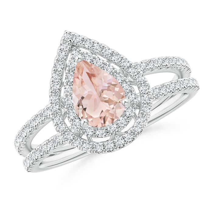 Angara Split Shank Morganite Engagement Ring in Platinum 4PFnA