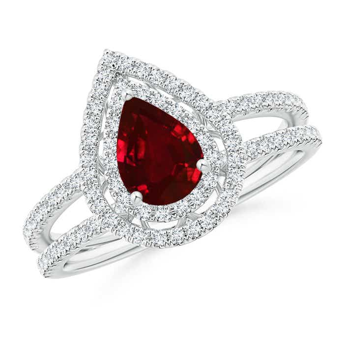 Angara Pear Ruby Halo Engagement Ring With Diamond Shoulders in Yellow Gold hecmzfb