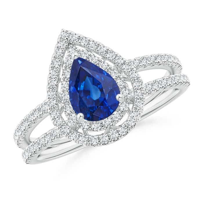 Angara Split Shank Pear Blue Sapphire and Diamond Halo Ring F9KKy17XLM