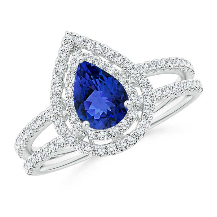 Angara Diamond Halo Tanzanite Split Shank Ring