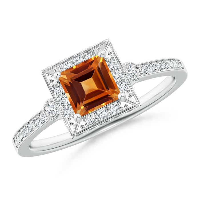 Angara Milgrain-Edged Square Citrine and Diamond Halo Ring in Platinum AjoclYQ
