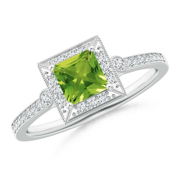 Angara Round Peridot Halo Ring with Cushion Milgrain Detailing