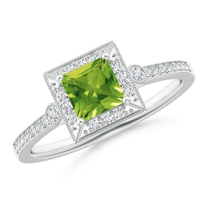 Angara Cushion Peridot Solitaire Ring in Platinum 84RuxzlM