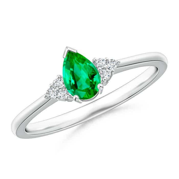 Angara Trio Accent Diamond and Emerald Solitaire Ring in White Gold
