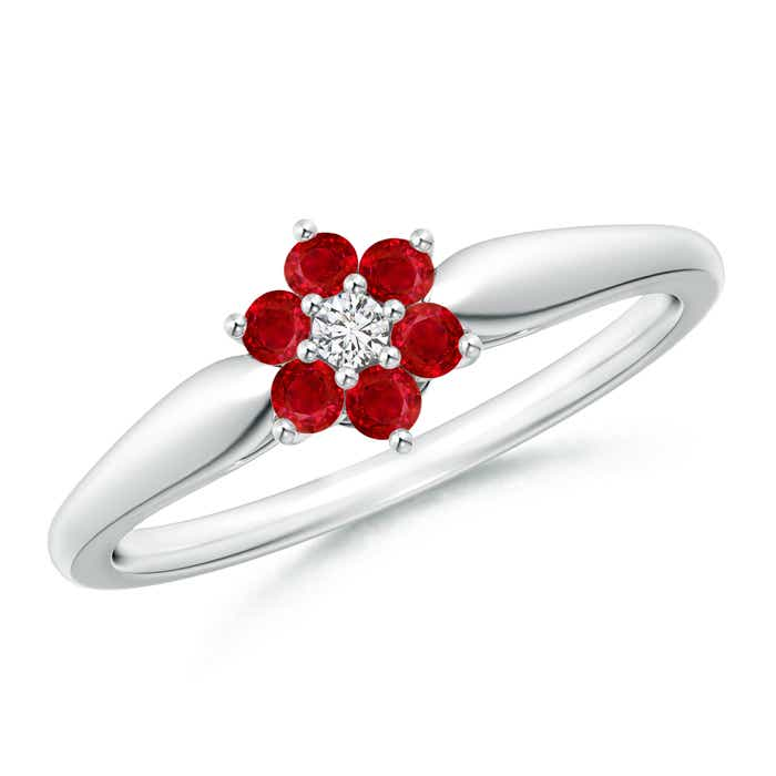 Angara Classic Ruby and Diamond Six Petal Flower Ring iMily3