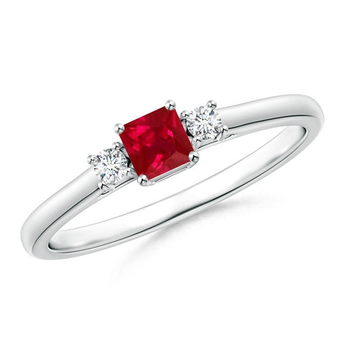 Angara Four Prong Three Stone Ruby Ring Diamonds in Platinum
