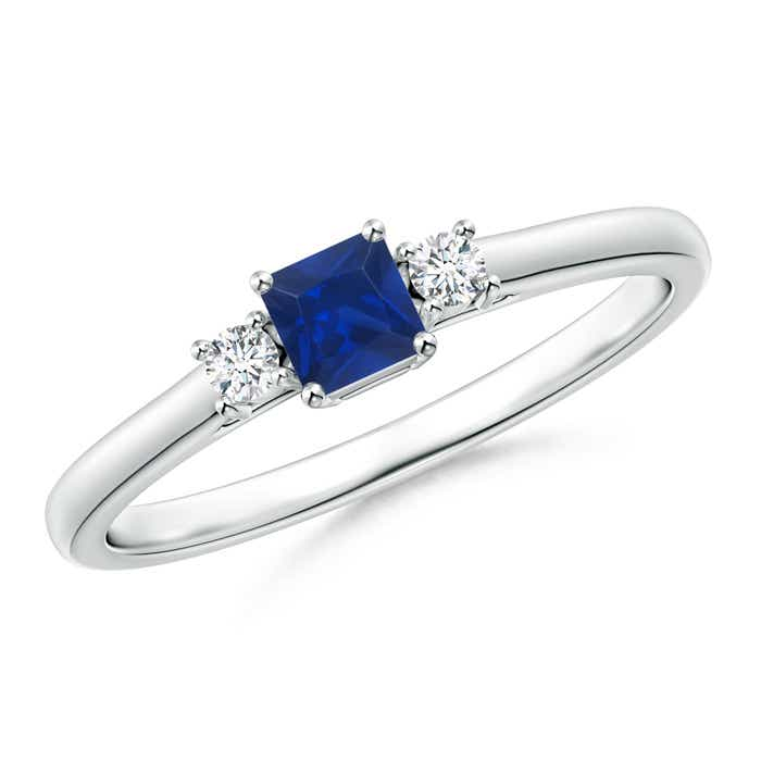 Angara 3 Stone Blue Sapphire and Diamond Halo Engagement Ring in Yellow Gold fVtJQbPdvm