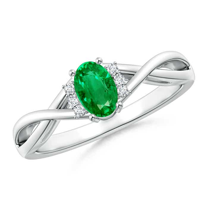 Angara Classic Solitaire Emerald Ring With Diamond Accents in White Gold GQ2pFwo