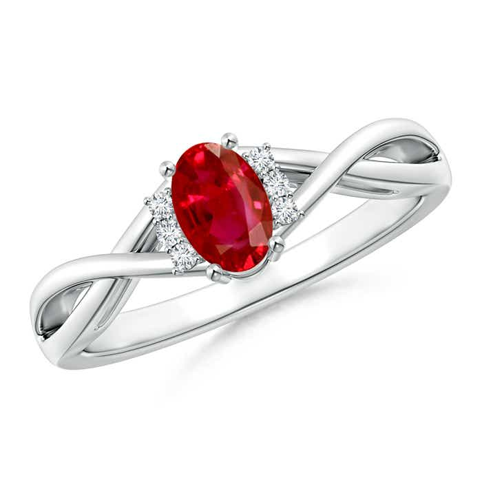 Angara Solitaire Ruby Crossover Shank Ring with Diamond in 14k White Gold BB3FISJn2r
