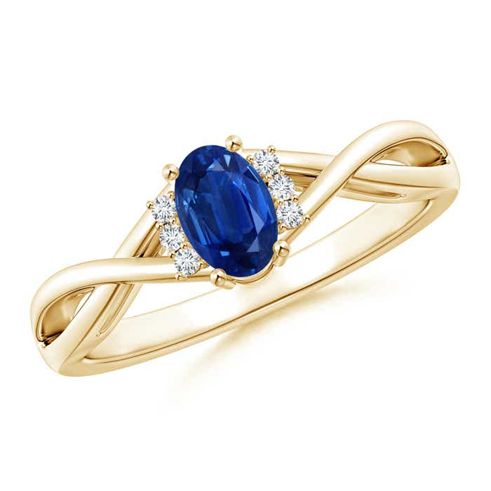 Angara Solitaire Oval Sapphire Criss-Cross Ring in 14k Rose Gold 0KJhvQw1