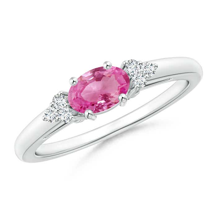 Angara Pink Sapphire Solitaire Ring with Diamond in Rose Gold