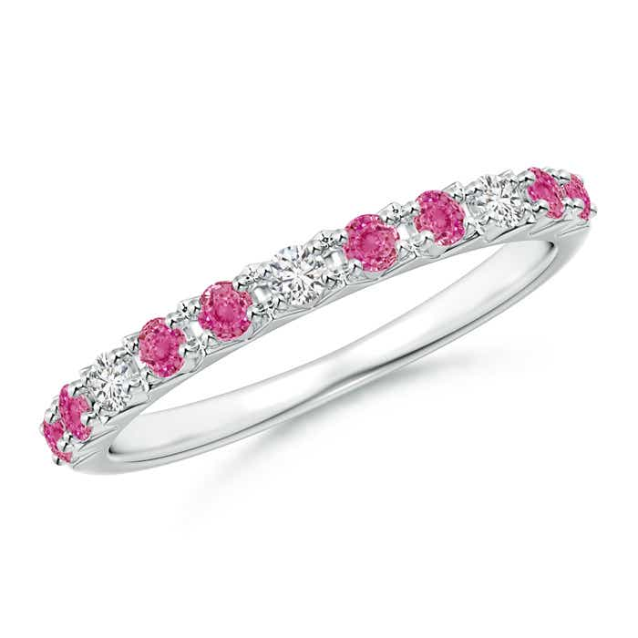 Angara Pink Sapphire Diamond Half Eternity Wedding Band for Her in Rose Gold JVei7c