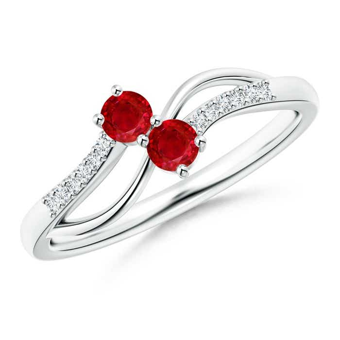 Angara Classic Round Two Stone Ruby Bypass Ring