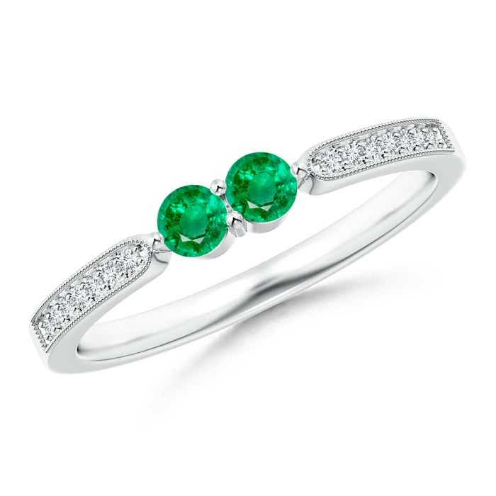 Angara Round Two Stone Emerald Twisted Ring in 14k Rose Gold JV10x