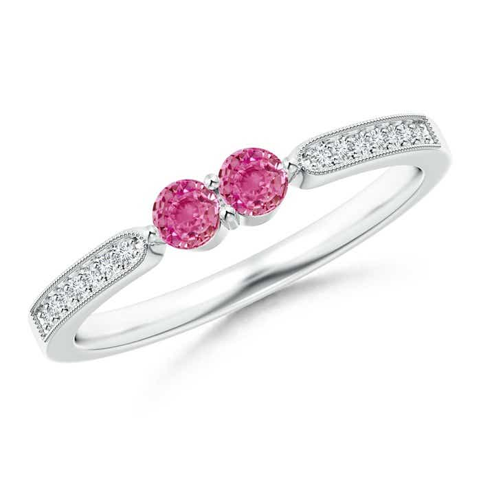 Angara Round Pink Sapphire Ring in White Gold oH0OOBtLh