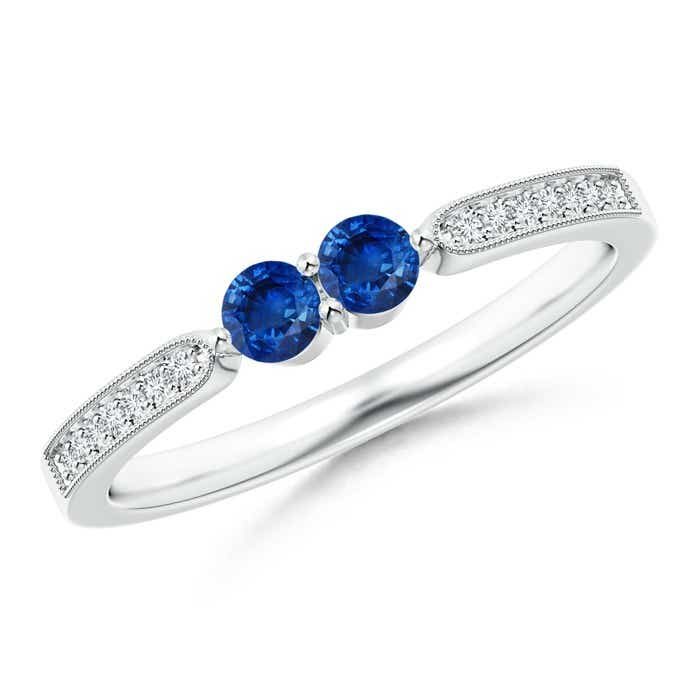 Angara Vintage Inspired Two Stone Blue Sapphire Ring with Diamond Accents