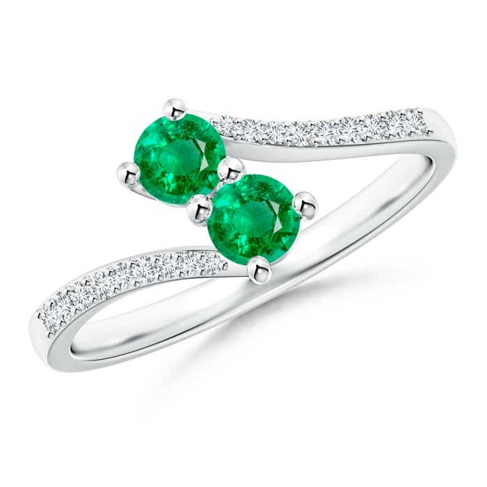 Angara Vintage Inspired Two Stone Emerald Ring with Diamond Accents M54MfD8E